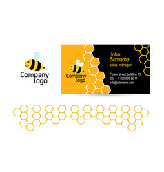 Cheerful bee logo and a modern business card vector