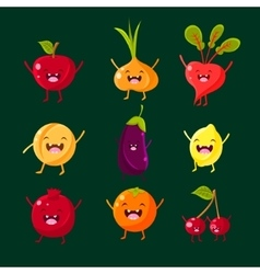 Cheerful fruit and vegetables Food with cute vector