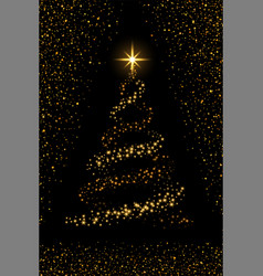 christmas tree on black background gold christmas vector image