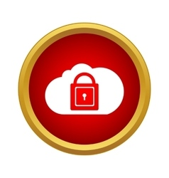 Cloud with closed padlock icon in simple style vector image