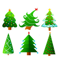 collection of christmas trees vector image