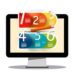 Computer screen with creative six step infographic vector