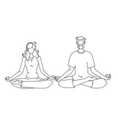 Consciousness mind meditating man and woman vector