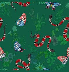 Coral snakes and butterflies seamless pattern vector