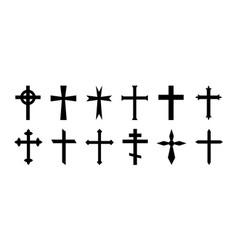 Cross christian crucifix icon christian vector