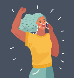Crying woman talking on phone vector