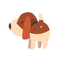 Cute beagle dog back view cute funny animal vector