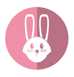 cute easter face bunny shadow vector image