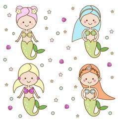 cute mermaids characters vector image vector image
