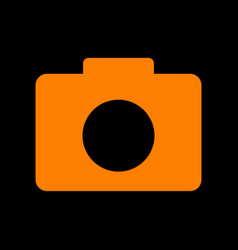 digital camera sign orange icon on black vector image vector image
