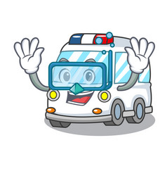 diving ambulance character cartoon style vector image