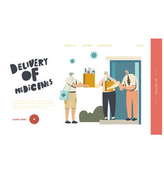 Drugs delivery service landing page template vector