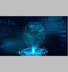 Earth globe hologram technology vector