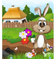 Easter bunny near a farmhouse vector