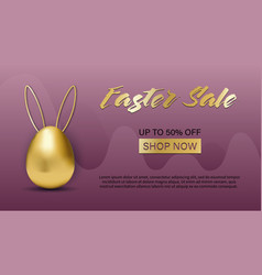 easter sale special offer banner with golden vector image