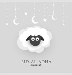 eid al adha background with sheep and moon star vector image