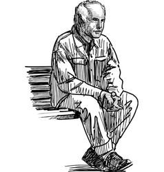 Elderly man resting vector
