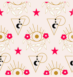 elegant eyes flowers and geometric elements in a vector image