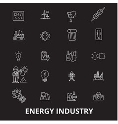 energy industry editable line icons set on vector image