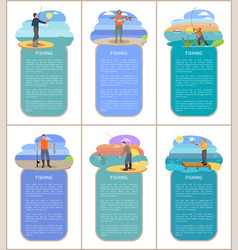 Fishing posters with headlines vector