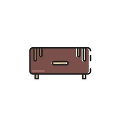 Flat color small couch icon vector