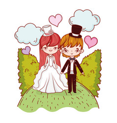Girl and boy couple with clouds and bushes vector