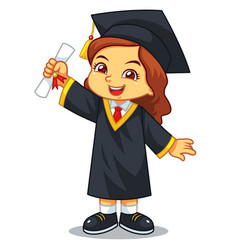 Girl graduation with toga and certificate vector