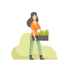 Girl holding box with seedlings people working in vector