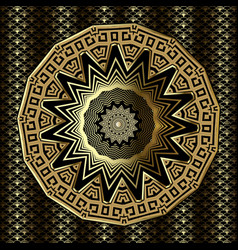 gold 3d greek mandala pattern ornamental vector image