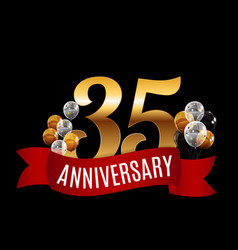 golden 35 years anniversary template with red vector image