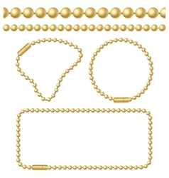 Golden Chain of Ball Links Set vector image