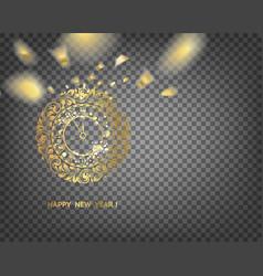 golden clock - symbol of 2019 year golden vector image