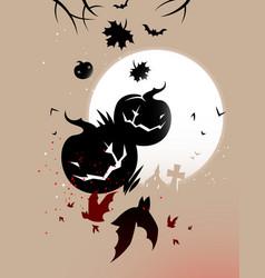 halloween pumpkins and bats vector image