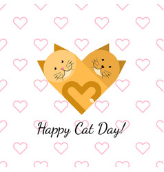 happy cat day gift card vector image
