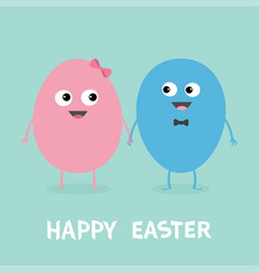 happy easter painting egg couple family looking vector image