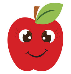 happy red apple on white background vector image