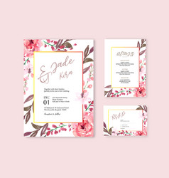 Happy wedding card floral garden invitation card vector