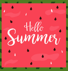 hello summer bright poster banner vector image