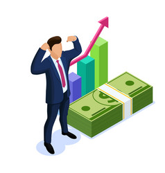 isometric business investment concept with vector image