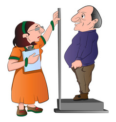 Lady measuring a mans height vector