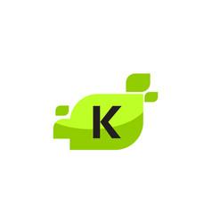 leaf initial k logo design template vector image