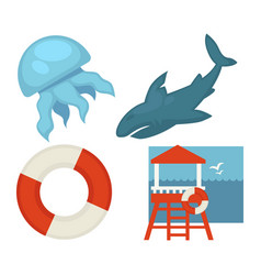 lifeguard or sea guard icons shark rescuer vector image