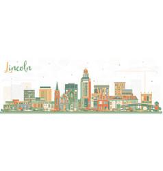 Lincoln nebraska city skyline with color buildings vector