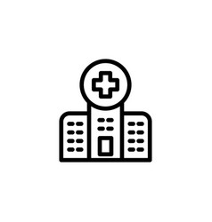 Line hospital icon on white background vector