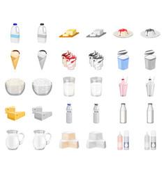 Milk product cartoonmonochrom icons in set vector