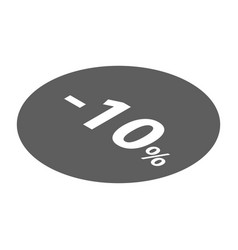 minus 10 percent sale black emblem icon isometric vector image