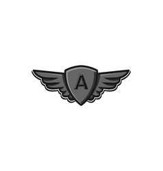 modern professional wings and shield initial a vector image
