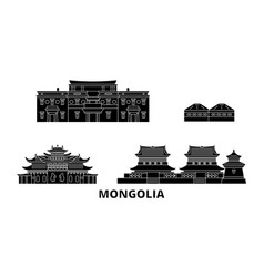 Mongolia flat travel skyline set mongolia black vector