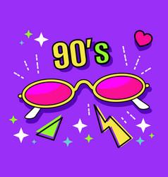 Neon retro narrow sunglasses collection 90s vector