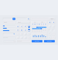 neumorphic ui kit screen buttons search forms vector image